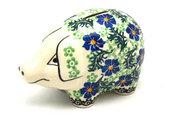 Ceramika Artystyczna Polish Pottery Piggy Bank - Sweet Violet 155-1538a (Ceramika Artystyczna)