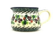 Ceramika Artystyczna Polish Pottery Pitcher - 15 oz. - Burgundy Berry Green 009-1415a (Ceramika Artystyczna)