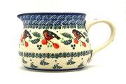 Ceramika Artystyczna Polish Pottery Pitcher - 15 oz. - Red Robin 009-1257a (Ceramika Artystyczna)