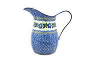 Ceramika Artystyczna Polish Pottery Pitcher - 2 pint - Blue Pansy B35-1552a (Ceramika Artystyczna)