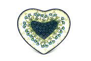 Ceramika Artystyczna Polish Pottery Plate - Heart - Blue Spring Daisy 959-614a (Ceramika Artystyczna)
