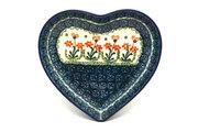 Ceramika Artystyczna Polish Pottery Plate - Heart - Peach Spring Daisy 959-560a (Ceramika Artystyczna)