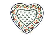 Ceramika Artystyczna Polish Pottery Plate - Heart - Red Robin 959-1257a (Ceramika Artystyczna)