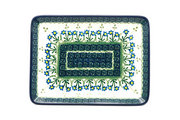 Ceramika Artystyczna Polish Pottery Platter - Rectangular - Blue Spring Daisy 111-614a (Ceramika Artystyczna)