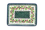 Ceramika Artystyczna Polish Pottery Platter - Rectangular - Burgundy Berry Green 111-1415a (Ceramika Artystyczna)