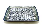 Ceramika Artystyczna Polish Pottery Platter - Square - Blue Chicory 583-976a (Ceramika Artystyczna)