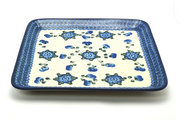 Ceramika Artystyczna Polish Pottery Platter - Square - Blue Poppy 583-163a (Ceramika Artystyczna)