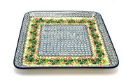 Ceramika Artystyczna Polish Pottery Platter - Square - Holly Berry 583-1734a (Ceramika Artystyczna)