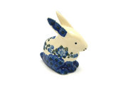 Ceramika Artystyczna Polish Pottery Rabbit Figurine - Small - Blue Poppy 821-163a (Ceramika Artystyczna)