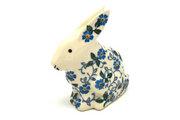 Ceramika Artystyczna Polish Pottery Rabbit Figurine - Small - Forget-Me-Knot 821-2089a (Ceramika Artystyczna)