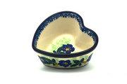 Ceramika Artystyczna Polish Pottery Ramekin - Heart - Blue Pansy A45-1552a (Ceramika Artystyczna)