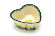 Ceramika Artystyczna Polish Pottery Ramekin - Heart - Daffodil A45-2122q (Ceramika Artystyczna)