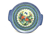 Ceramika Artystyczna Polish Pottery Round Tray with Handles - Unikat Signature - U4553 152-U4553 (Ceramika Artystyczna)