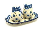Ceramika Artystyczna Polish Pottery Salt & Pepper Set - Blue Bayou 131-1975a (Ceramika Artystyczna)