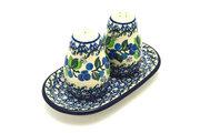 Ceramika Artystyczna Polish Pottery Salt & Pepper Set - Blue Berries 131-1416a (Ceramika Artystyczna)