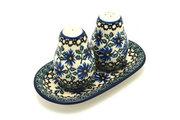 Ceramika Artystyczna Polish Pottery Salt & Pepper Set - Blue Chicory 131-976a (Ceramika Artystyczna)