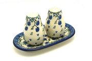 Ceramika Artystyczna Polish Pottery Salt & Pepper Set - Blue Clover 131-1978a (Ceramika Artystyczna)
