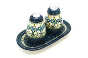 Ceramika Artystyczna Polish Pottery Salt & Pepper Set - Blue Spring Daisy 131-614a (Ceramika Artystyczna)