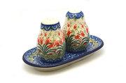 Ceramika Artystyczna Polish Pottery Salt & Pepper Set - Crimson Bells 131-1437a (Ceramika Artystyczna)