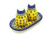 Ceramika Artystyczna Polish Pottery Salt & Pepper Set - Sunburst 131-859a (Ceramika Artystyczna)