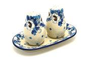 Ceramika Artystyczna Polish Pottery Salt & Pepper Set - White Poppy 131-2222a (Ceramika Artystyczna)