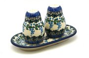 Ceramika Artystyczna Polish Pottery Salt & Pepper Set - Wisteria 131-1473a (Ceramika Artystyczna)