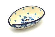 Ceramika Artystyczna Polish Pottery Spoon Rest - White Poppy 381-2222a (Ceramika Artystyczna)