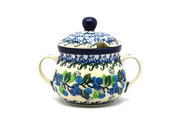Ceramika Artystyczna Polish Pottery Sugar Bowl - Blue Berries 035-1416a (Ceramika Artystyczna)