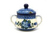 Ceramika Artystyczna Polish Pottery Sugar Bowl - Blue Poppy 035-163a (Ceramika Artystyczna)