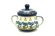 Ceramika Artystyczna Polish Pottery Sugar Bowl - Blue Spring Daisy 035-614a (Ceramika Artystyczna)