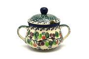 Ceramika Artystyczna Polish Pottery Sugar Bowl - Burgundy Berry Green 035-1415a (Ceramika Artystyczna)