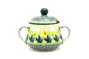 Ceramika Artystyczna Polish Pottery Sugar Bowl - Daffodil 035-2122q (Ceramika Artystyczna)