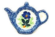 Ceramika Artystyczna Polish Pottery Tea Bag Holder - Blue Pansy 766-1552a (Ceramika Artystyczna)
