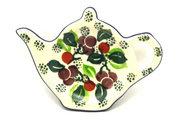 Ceramika Artystyczna Polish Pottery Tea Bag Holder - Burgundy Berry Green 766-1415a (Ceramika Artystyczna)