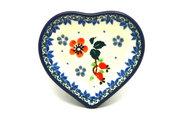 Ceramika Artystyczna Polish Pottery Tea Bag Holder - Heart - Cherry Blossom B64-2103a (Ceramika Artystyczna)