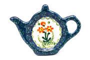 Ceramika Artystyczna Polish Pottery Tea Bag Holder - Peach Spring Daisy 766-560a (Ceramika Artystyczna)