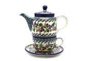 Ceramika Artystyczna Polish Pottery Tea Time for One - Burgundy Berry Green 423-1415a (Ceramika Artystyczna)