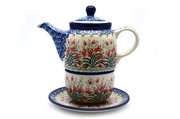 Ceramika Artystyczna Polish Pottery Tea Time for One - Crimson Bells 423-1437a (Ceramika Artystyczna)
