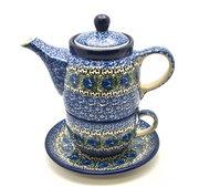 Ceramika Artystyczna Polish Pottery Tea Time for One - Peacock Feather 423-1513a (Ceramika Artystyczna)