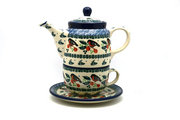 Ceramika Artystyczna Polish Pottery Tea Time for One - Red Robin 423-1257a (Ceramika Artystyczna)