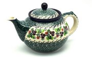 Ceramika Artystyczna Polish Pottery Teapot - 1 1/4 qt. - Burgundy Berry Green 060-1415a (Ceramika Artystyczna)