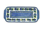 """Ceramika Artystyczna Polish Pottery Tray - Appetizer - 12"""" - Blue Pansy 410-1552a (Ceramika Artystyczna)"""