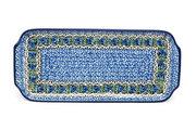 """Ceramika Artystyczna Polish Pottery Tray - Appetizer - 12"""" - Peacock Feather 410-1513a (Ceramika Artystyczna)"""