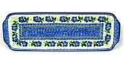 """Ceramika Artystyczna Polish Pottery Tray - Appetizer - 16"""" - Blue Pansy 416-1552a (Ceramika Artystyczna)"""
