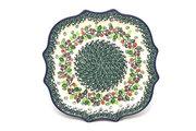 Ceramika Artystyczna Polish Pottery Tray - Serpentine Edge - Burgundy Berry Green 507-1415a (Ceramika Artystyczna)