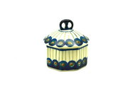 Ceramika Artystyczna Polish Pottery Trinket Box - Peacock 110-054a (Ceramika Artystyczna)