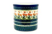 Ceramika Artystyczna Polish Pottery Utensil Holder - Peach Spring Daisy 003-560a (Ceramika Artystyczna)