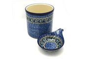 Ceramika Artystyczna Polish Pottery Utensil Holder Set - Peacock Feather S00-1513a (Ceramika Artystyczna)