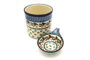 Ceramika Artystyczna Polish Pottery Utensil Holder Set - Red Robin S00-1257a (Ceramika Artystyczna)