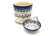 Ceramika Artystyczna Polish Pottery Utensil Holder Set - Silver Lace S00-2158a (Ceramika Artystyczna)